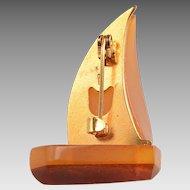 Abstract Design: Amber, 14kt Sailboat brooch