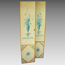 Pair of Antique French, Hand Painted, Wooden Boudoir Doors plus matching panel c.1920's