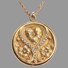 Gold Filled 1920 Nouveau Locket with paste stones