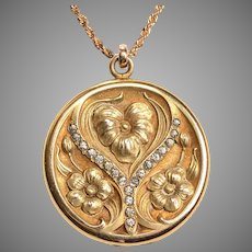 Gold Filled 1920 Nouveau Locket with paste stones