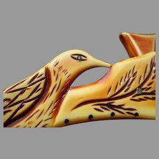 1930's Carved Celluloid Purse Frame: Birds
