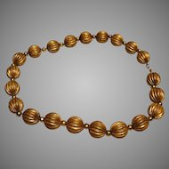 "Vintage ""Ribbed Melon"" Bead Necklace:  17.5 inch length"