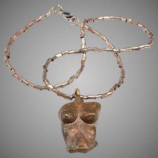 Signed, Cast Bronze Mid Century Pendant