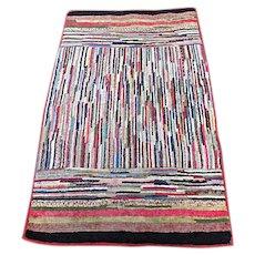 1920's Handmade American Folk Arts Rag Rug