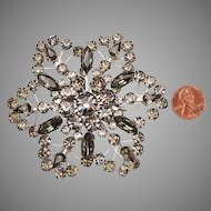 "Large 1940's Rhinestone Brooch - 3 1/4"" square"