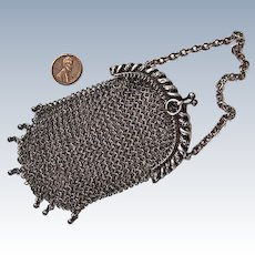 Sterling Silver Mesh Chatelaine Purse:  replaced chain handle,  ornate repousse  frame, circa 1915