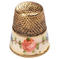 1920's Silver Gilt Sewing Thimble with White Enamel Band:  Roses and Forget-Me-Nots