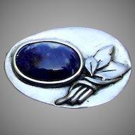 Vintage Sterling Silver, Sodalite Brooch