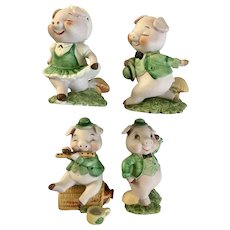 Irish Figurines Dancing Pigs St Patrick's Day Vintage George Good Bisque