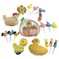 Retro Mid-Century Easter Bunnies Chicks Decorations Group
