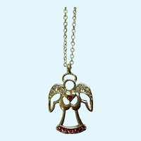 Silver-Tone Angel Necklace with the Aurora Borealis Rhinestones