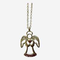 Silver-Tone Angel Necklace with the Aurora Borealis Rhinestones