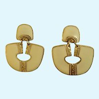 Berebi Earrings Cream and Gold Tone Stud Post for Pierced Ears