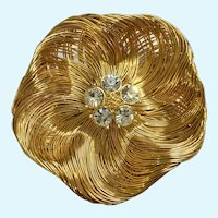 Gold-Tone Filigree Poppy Flower Brooch Pin with Crystal Rhinestones Monet