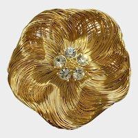 Gold-Tone Filigree Poppy Flower Brooch Pin with Crystal Rhinestones Monet