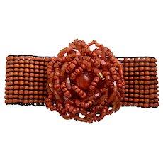 Red Rose Flower Bracelet Beaded Stretchy Band