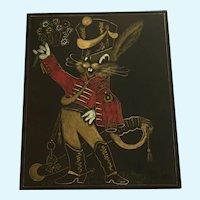 Amusing Scratchboard / Scraperboard Anthropomorphic Bunny Rabbit Soldier Mid-Century
