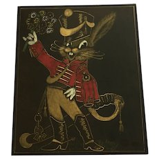 Amusing Scratchboard / Scraperboard Anthropomorphic Bunny Rabbit Soldier Mid-Century Art Picture