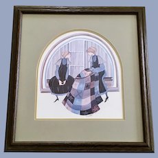 P. Buckley Moss Folk Art Amish Taking Turns Quilting Limited Edition Print
