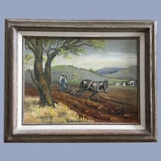 Pa Burrus, A Farmer Plowing His Field Oil Painting Signed By Artist