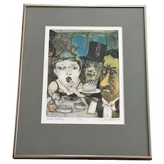 Bizarre David Fraiser Driesbach (1922-2019) Another Birthday Hand Colored Etching Limited Print
