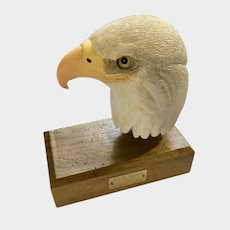 Del Smith, Bald Eagle Bird Carving Statuette Hand Carved Wood Listed Artist