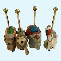 1990 Hallmark Merry Miniature Carousel Animal Figurines Set of 4
