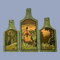 Russian Kitchen Board Paddle The Frog Princess Hand Painted Signed H, Kyahhoba