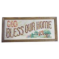God Bless Our Home Cross-Stitch Framed Mid-Century Folk Art Wall Decoration