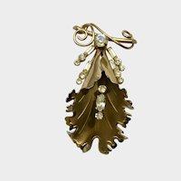 Stunning Leaf Gold-Tone Diamond Rhinestone Brooch Pin
