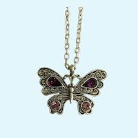Silver-tone Butterfly Purple Pink Rhinestones Pendant Necklace
