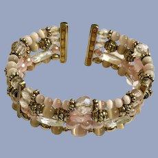 Lovely Pink Beaded Gold-Tone Cuff Bracelet