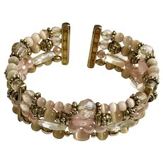 Lovely Pink Beaded Gold-Tone Cuff Bracelet