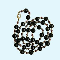 Black Onyx Gold-Tone Beaded Necklace