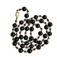Black Onyx Gold-Tone Beaded Necklace