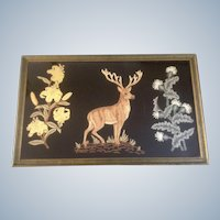 Antique Raised Embroidery Stag Black Velvet Wall Hanging Rug