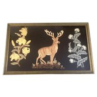 Antique Raised Embroidery Stag on Black Velvet Wall Hanging Rug 19th Century Large Hand Made Folk Art Deer and Floral Design in Original Frame