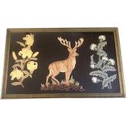 Antique Raised Embroidery Stag on Black Velvet Wall Hanging Rug 19th Century Large Hand Made Folk Art Deer and Floral Design in Original Frame