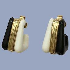 Trifari Square Black White Gold-Tone Clip-On Earrings