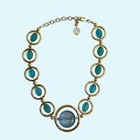Unique Blue and Gold-Tone Large Circle Necklace