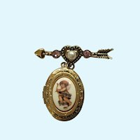 Angel with Gold-tone Arrow Faux Pearl Pink Rhinestones Hanging Locket Pendant Brooch