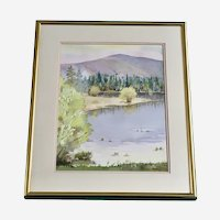 Ralph Perry, Forested Lake Landscape Watercolor Painting Signed by Artist