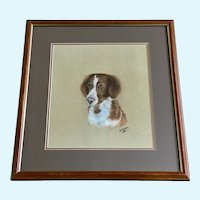 Portrait of a Brittany Spaniel Hunting Dog Pastel Painting Signed