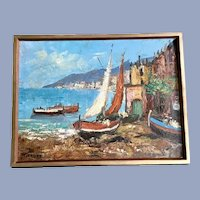 Mediterranean Coastal Oil Painting Signed by Artist