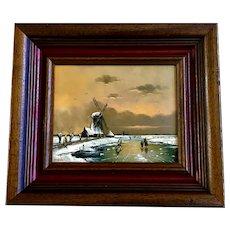 Hendrik Breedveld (1918 - 1999), Dutch Windmill Winter Ice Skating Oil Painting