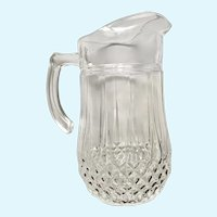 Antique Pressed Glass Water Pitcher Diamonds and Points
