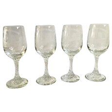 RAF Bentwaters England Sherry Cordial Etched Church Countryside Glasses