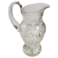 American Brilliant Cut Crystal Ewer Water Pitcher