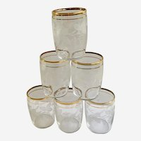 6 Bartlett-Collins Etched Frosted Grapes Small Clear Juice Glass