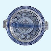 Beautiful Indiana Glass Blue Windsor Divided Plate Dish 1982